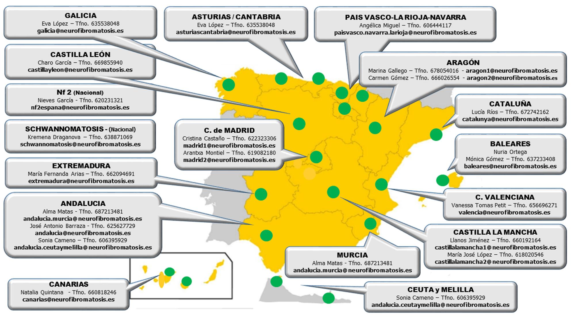 Mapa de responsables de zona de la Asociación de Afectados de Neurofibromatosis
